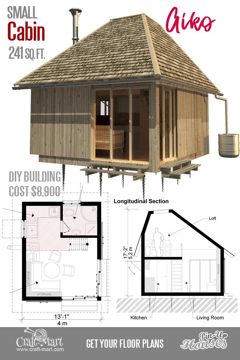 Cute Small Cabin Plans (A-Frame Tiny House Plans, Cottages, Containers) -  Craft-Mart | Small cabin plans, Small house plans, Tiny house cabin