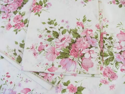 Vintage Polished Cotton Glazed Floral Print Chintz Fabric, Bouquets In Pink