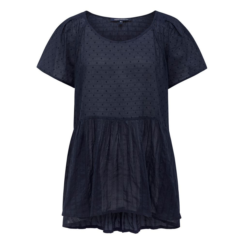 Relaxed in styling with a gathered seam detail at waist that is constructed in a light weight cotton dobby,  our Don?t Be Dobby Peplum Top is the perfect summer addition to your wardrobe. 100% COTTON