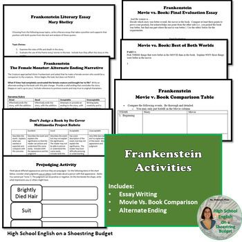 Thesis Statements For Argumentative Essays Frankenstein Activity Bundle Mary Shelley Word Version Mary Shelley Essay  Topics Graphic Healthy Lifestyle Essay also Examples Of An Essay Paper Frankenstein Activity Bundle Mary Shelley Word Version  Projects  Sample Essays For High School Students