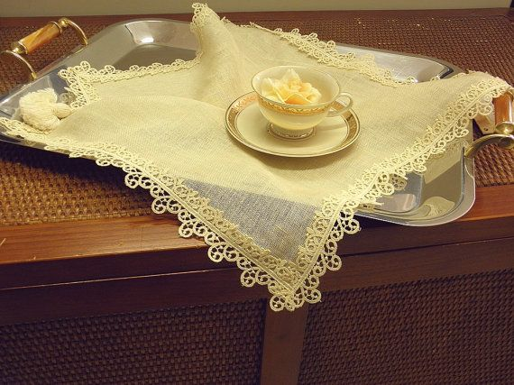 Linen napkin table topper Victorian lace by ClassyInteriorsDeco
