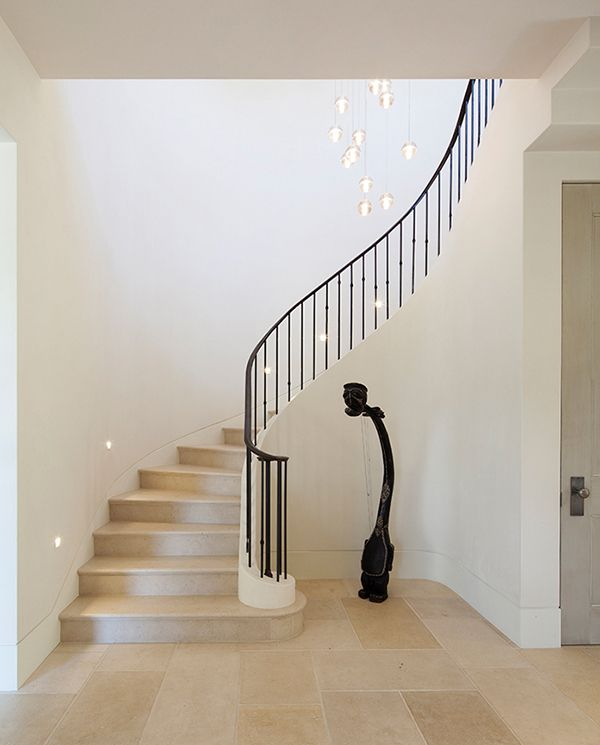 80 Awesome Modern Farmhouse Staircase Decor Ideas: French Country Inspired Farmhouse In California: Stone