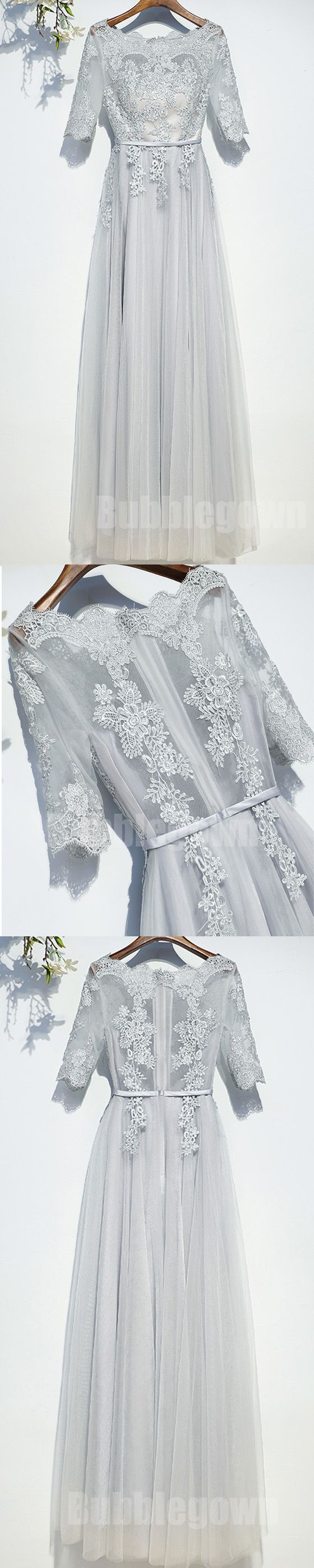 Half sleeves tulle applique light grey cheap on sale long prom