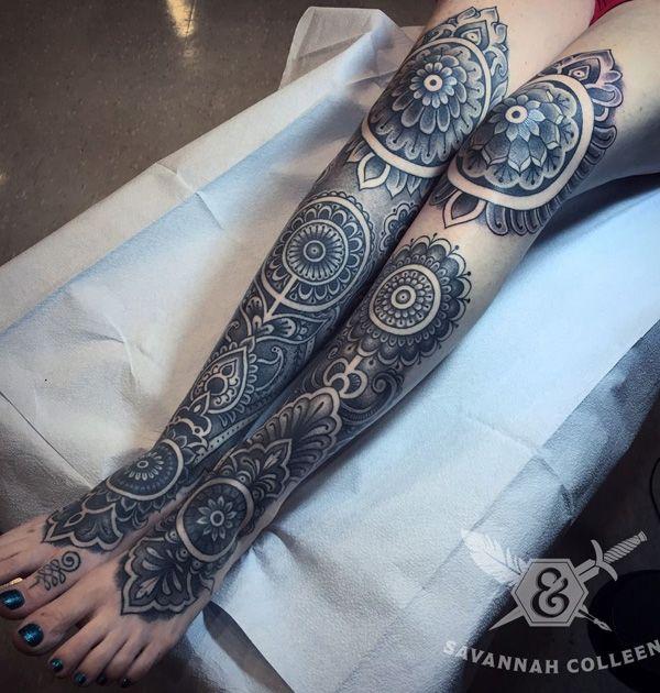 Mandala Leg Sleeve Tattoos For Females