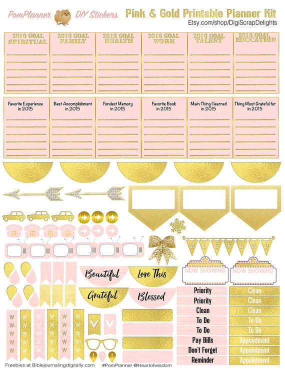 pink gold new year printable planner kit 5 pdfs ec or happy planner over 300 stickers plnnerlove planneraddict pomplanner