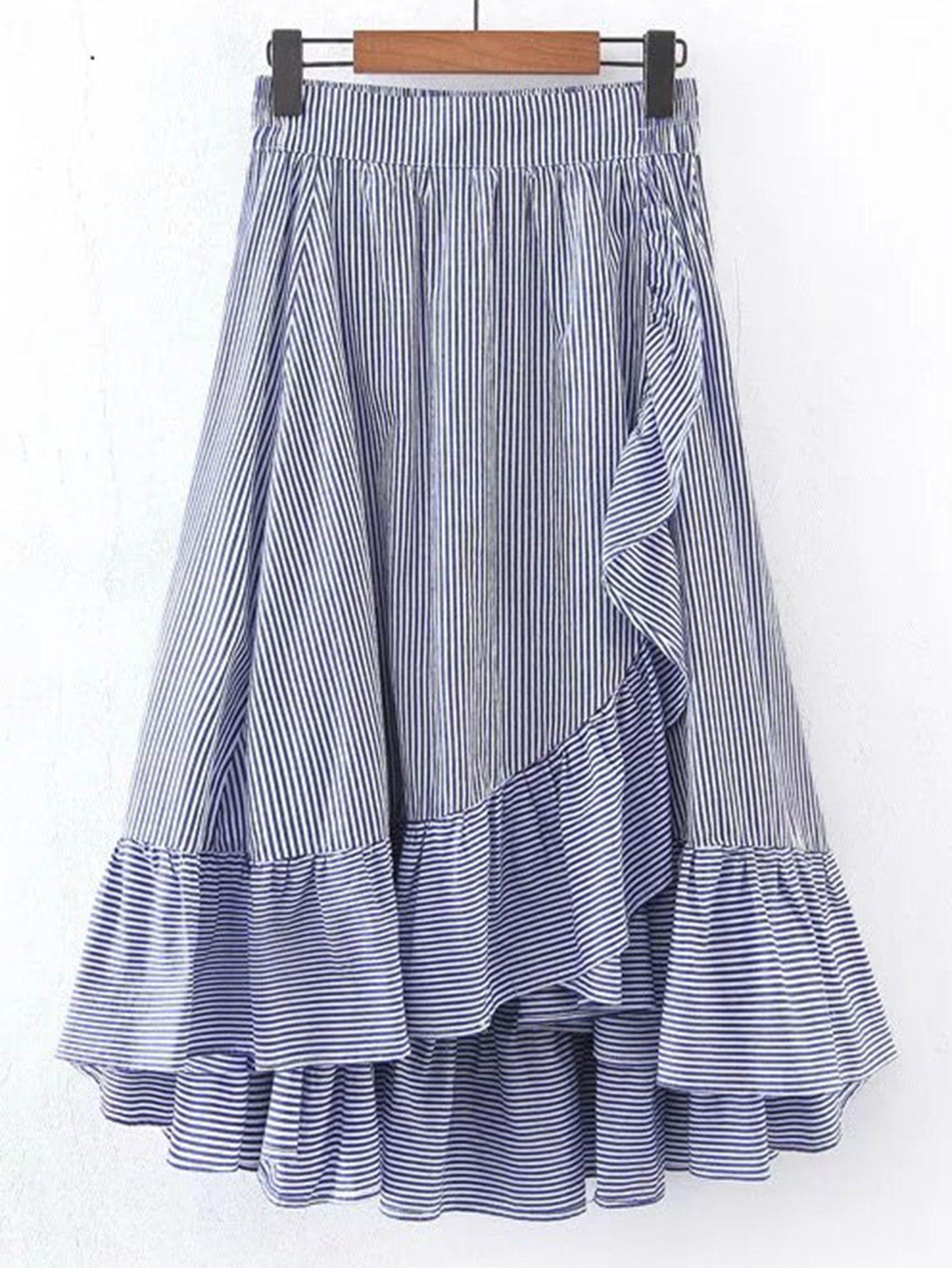 Falda con cintura elástica en línea A con ribete de volantes -Spanish  SheIn(Sheinside) 800033b1c9da