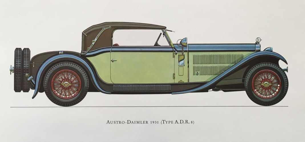 TITLE : AUSTRO DAIMLER 1931  DESCRIPTION : one print from a collection of antique classic cars presented in vivid colours, showcases grand cars of the past when automobile making involved not only innovative engineering but creating unique, hand made, visually stunning designs. Marvels of technology and pieces of functional art aimed to impress.  Printed on the reverse is a commentary about the car from Phillip L. Sumner who was vice president of the Veteran Car Club when the prints were…