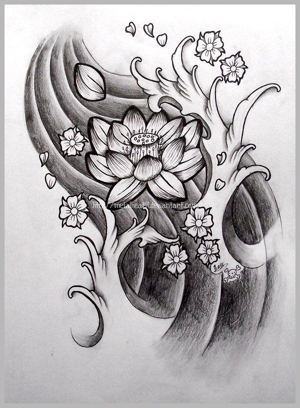 Japanese Lotus By Metalhead99 On Deviantart Japanese Flower Tattoo Japanese Tattoo Flower Tattoo Designs