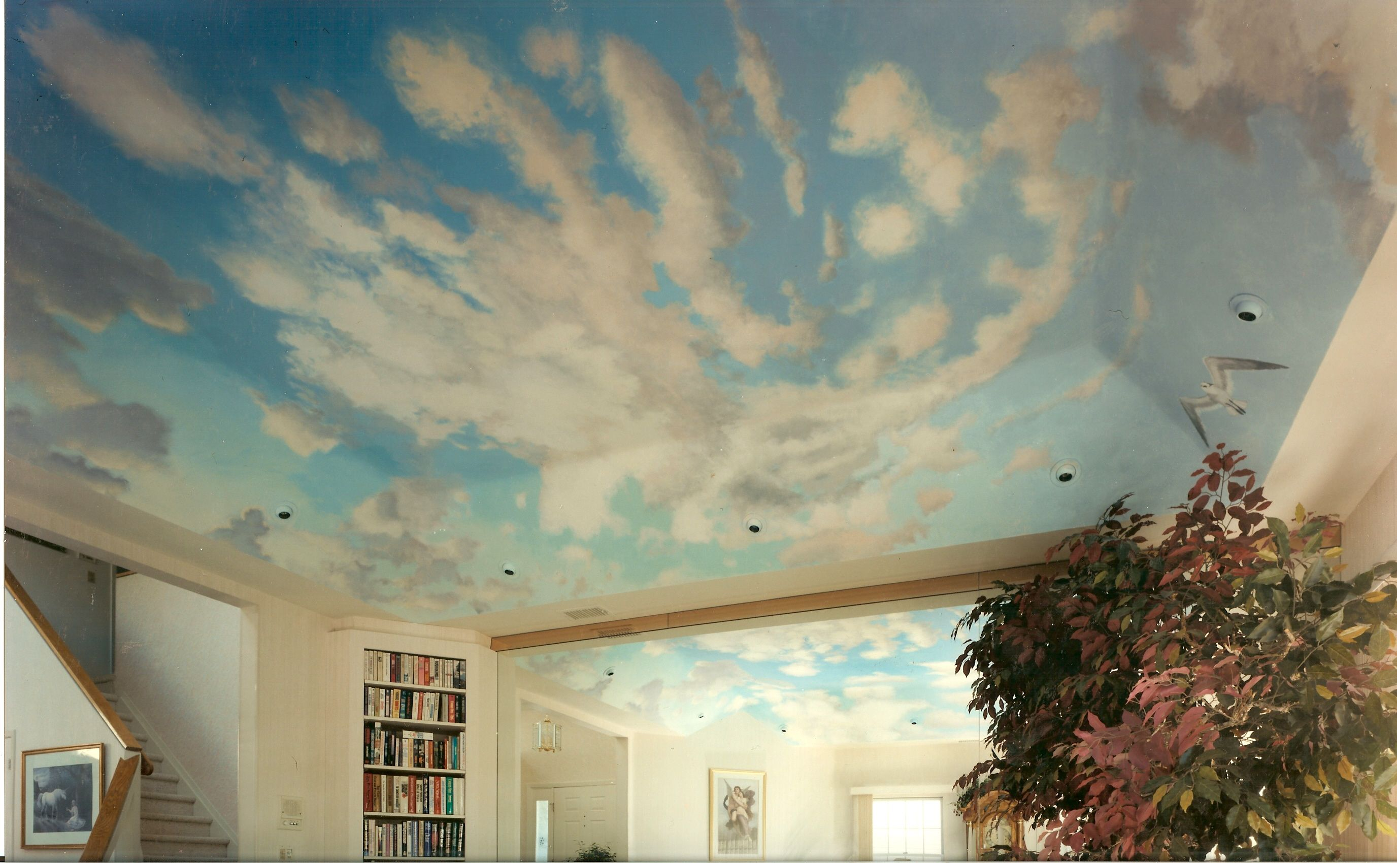 Ceiling mural for livingroom oyster bay ny houses for Ceiling mural sky