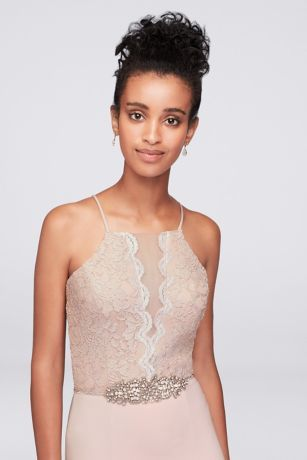 beaded waist lace and jersey halter sheath gown  sheath gown