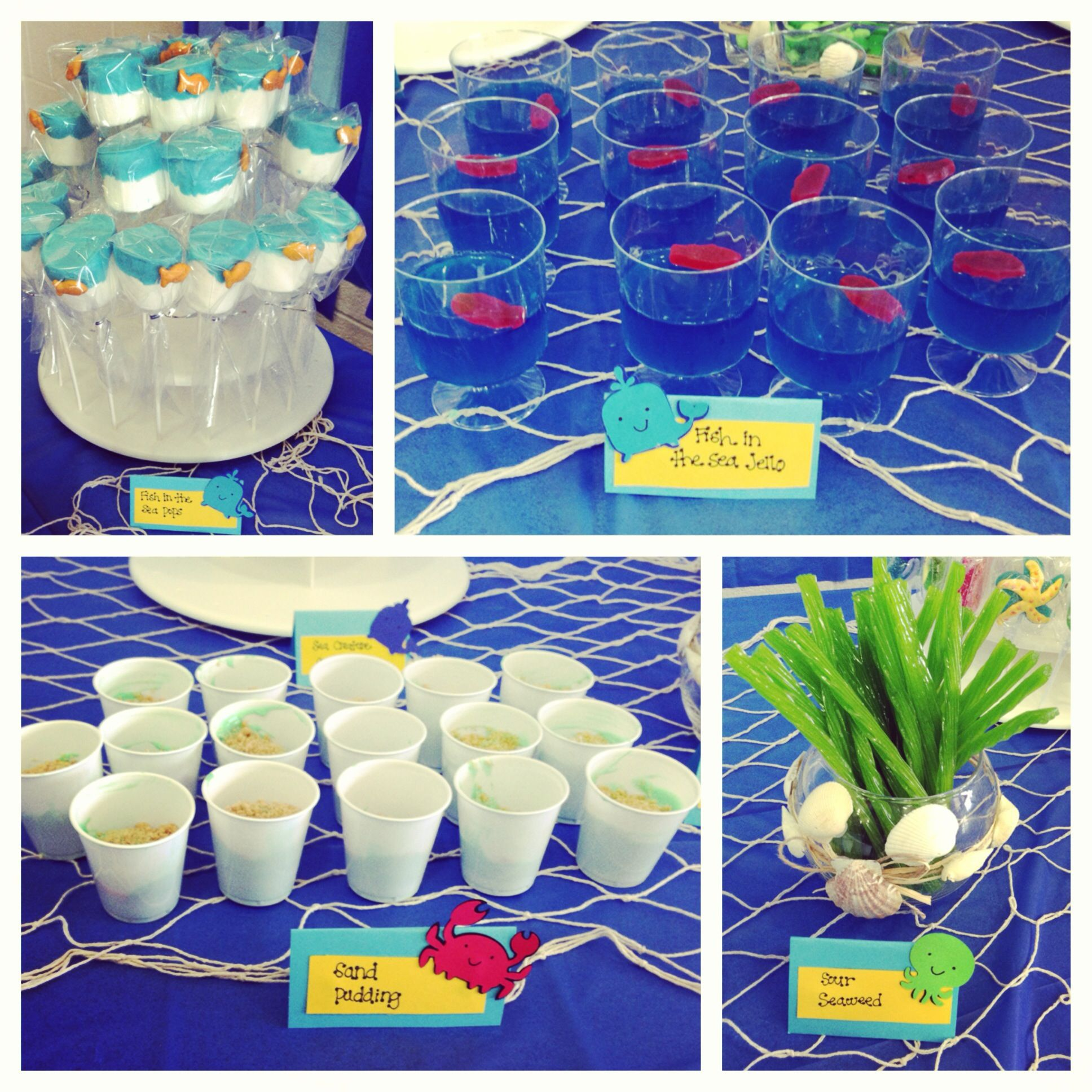 sweet treat ideas for Under the Sea baby shower Blue jello