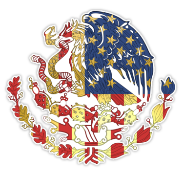 Coat of arms american. Gold us mexican sticker