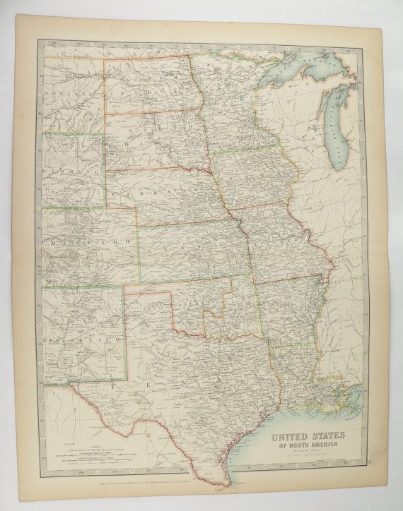 Antique Map Central US Map United States Map 1905 Johnston Map