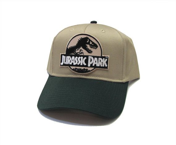 Jurassic Park Movie Desert Logo Patch Khaki Green Snapback Cap Hat ... f54fe326d672
