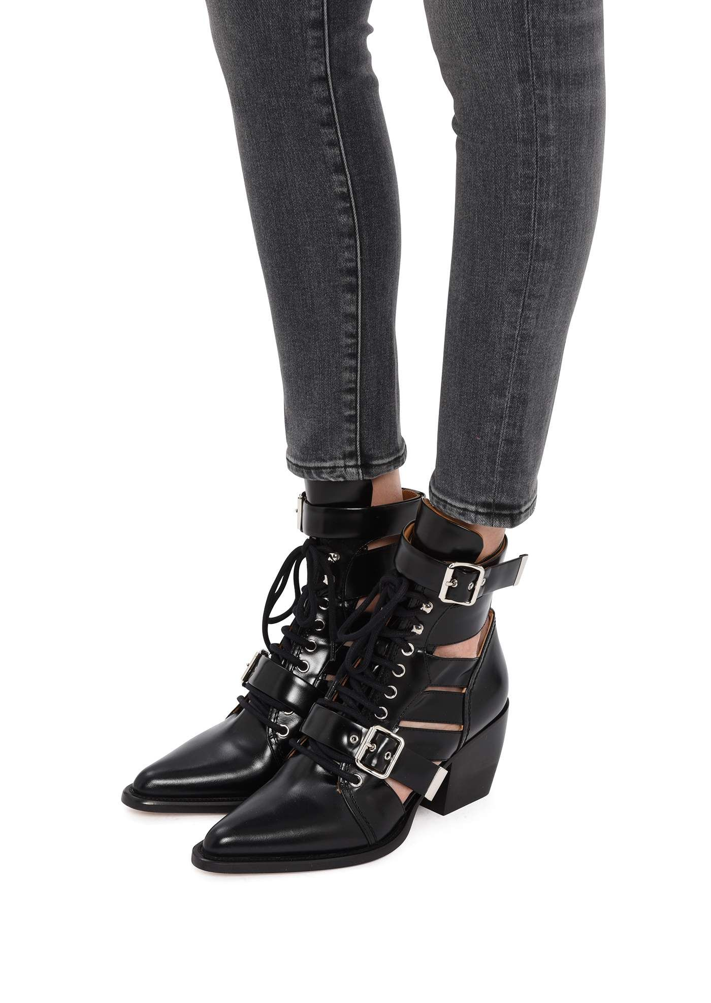 5d39555847 Chloé Ankle boots :: Chloé Rylee ankle boots in shiny black calfskin |  Montaigne Market