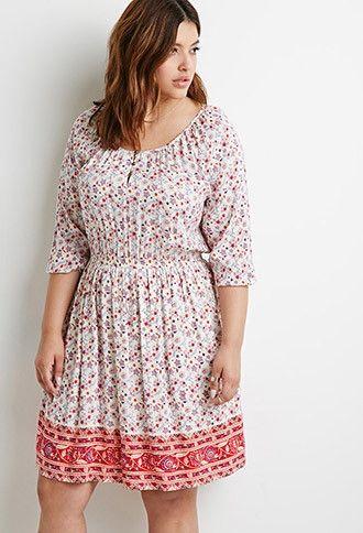 Paisley Print Babydoll Dress | Forever 21 PLUS - 2000133296 ...