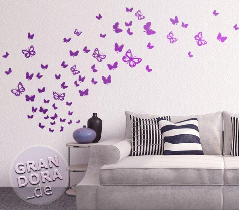 Wandtattoo Schmetterlingsschwarm W819 Wohnzimmer Schmetterlinge Wandtatoo  Blumen