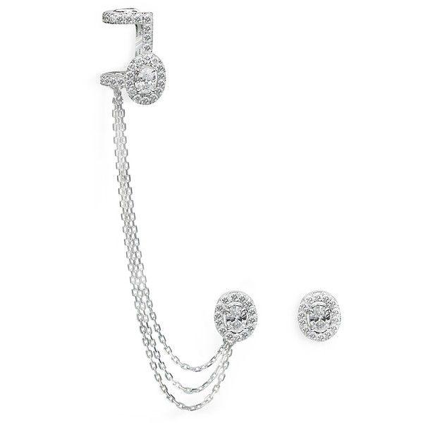 Messika Amazone Pavé Diamond Cuff Earrings in 18K White Gold 0RMnZ8tl