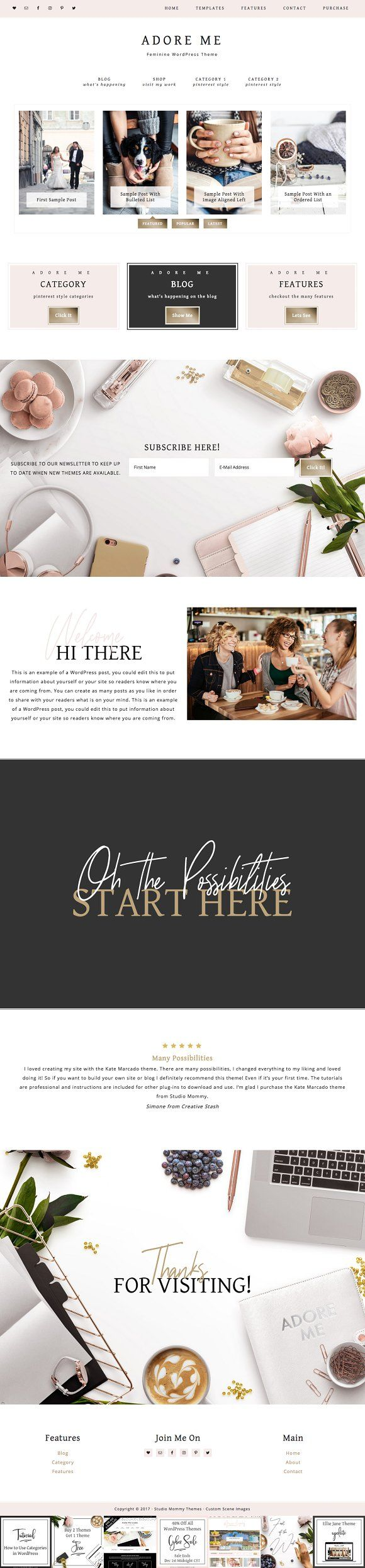Adore Me WordPress Theme by Studio Mommy on Creative Market