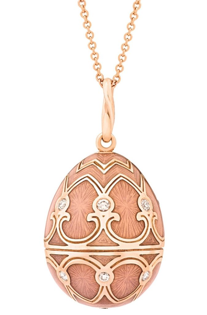 Faberge Palais Tsarskoye Selo Rose Gold Diamond Pink Pendant Rococo