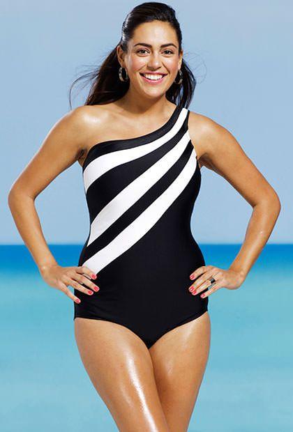 b9b69abc84fca Delta Burke Splice City Plus Size One Shoulder Swimsuit
