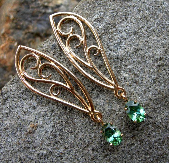 Fairy wings gold earrings with Maine Tourmaline, filigree, scroll, white gold, yellow gold, pink tou