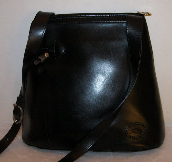 Longchamp France Roseau purse sling bag tote cross body black silver  hardware vintage Exclnt 4de6eb3400b8f