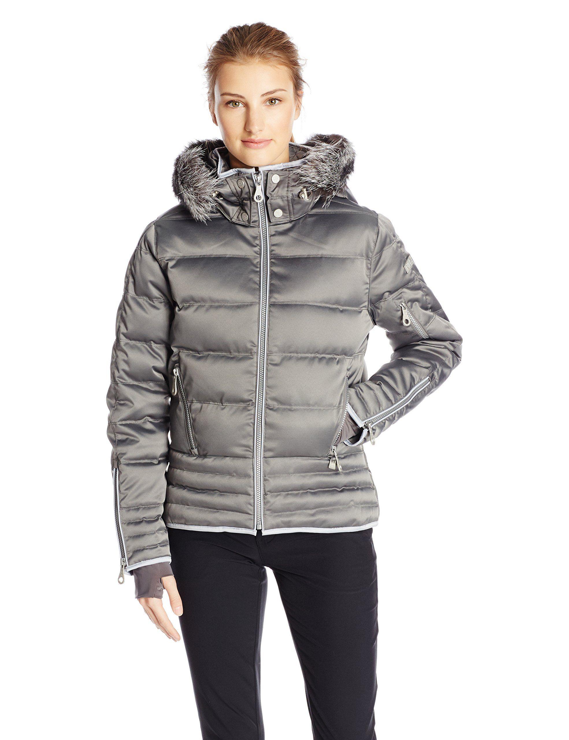 ea3c149a93f Nils Women's Larisa Real Fur Jacket, Pewter, 4. Fleece Lined Chin Guard.