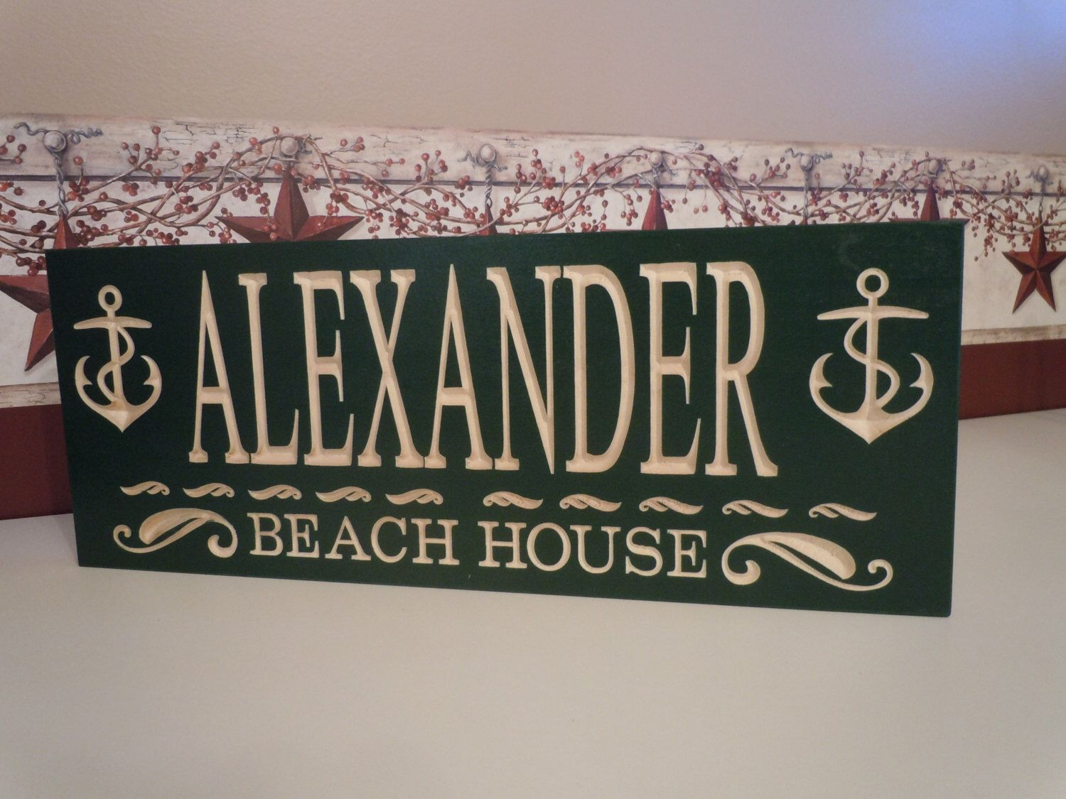 Personalized Custom Carved Wooden Beach House Lake House Bay