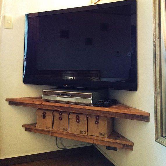 Corner Shelvescorner Shelfwall Shelvesrustic Shelvescorner Etsy Corner Tv Corner Shelves Corner Tv Shelves