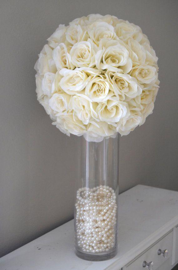 14 IVORY Cream Elegant Wedding Silk Flower Ball by KimeeKouture