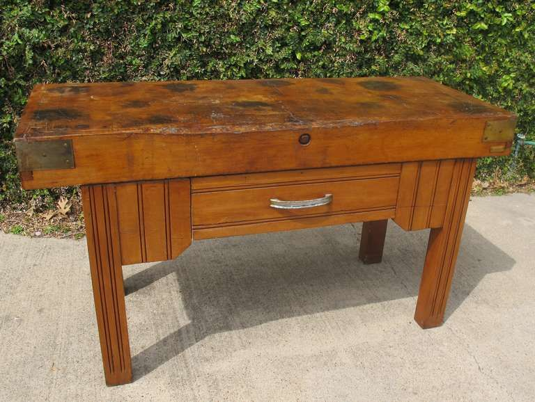 Antique French Butcher Block Table