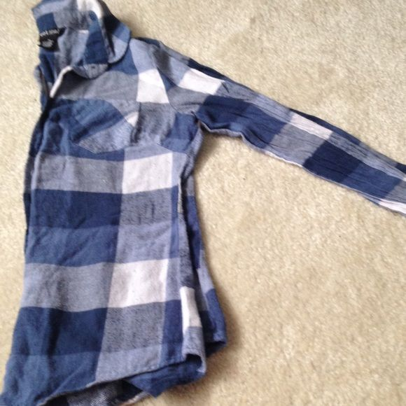 SALE! Used plaid shirt from wet seal Used plaid shirt from wet seal, size medium whites and blues. Price lowered to sell Wet Seal Tops