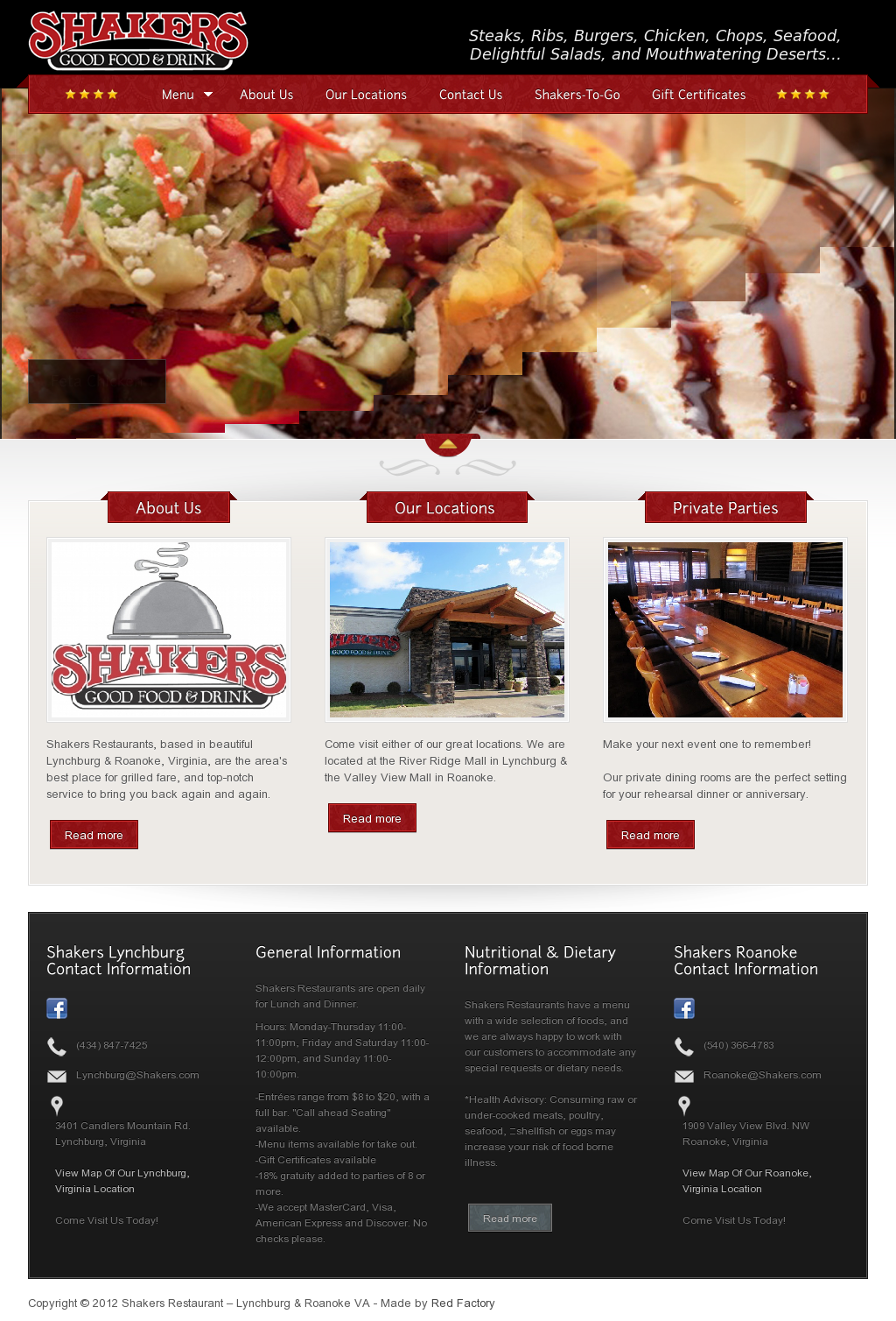Shakers Restaurants are casual dining restaurants in the Lynchburg and Roanoke area. Check them out if you are looking for one of the best restaurants in Roanoke and Lynchburg >> restaurant Lynchburg --> http://shakers.com