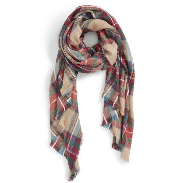 Women's Sole Society Plaid Blanket Scarf ($50) ❤ liked on Polyvore featuring accessories, scarves, tan multi, tartan plaid scarves, oversized blanket scarf, plaid shawl, blanket scarf and tartan scarves
