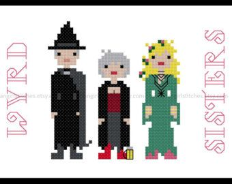 Wyrd Sisters cross stitch based on Terry Pratchett's Discworld - PDF Pattern - INSTANT DOWNLOAD
