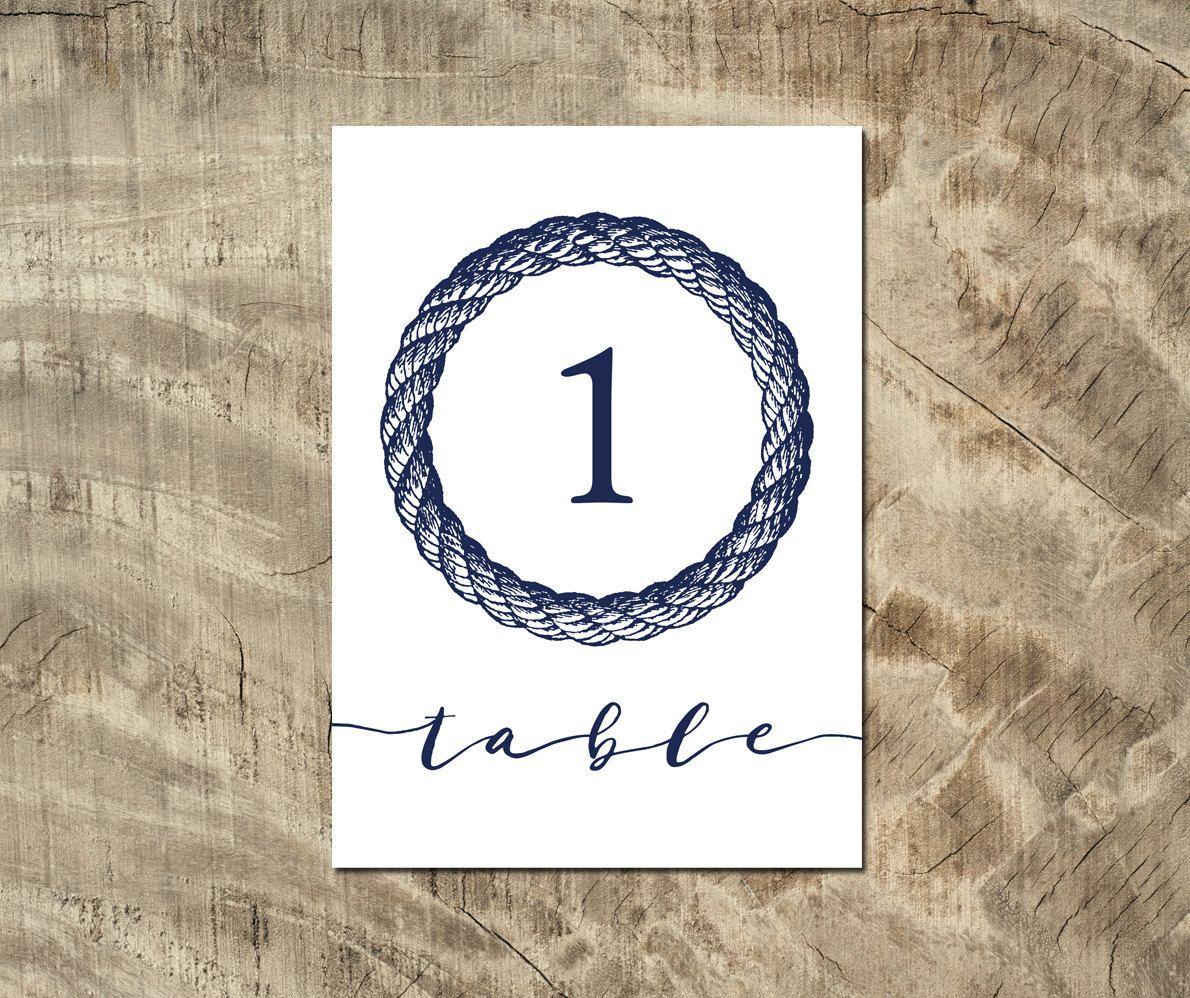 Debenhams Wedding Service Gift List Number: Wedding 1-15 Table Sign 5x7 Nautical Calligraphy Table