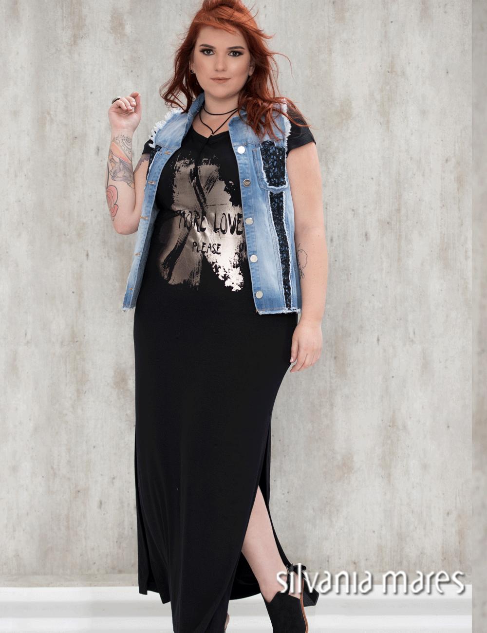 0dec828bfd41 Colete jeans com vestido longo | Fashion for All | Colete jeans ...
