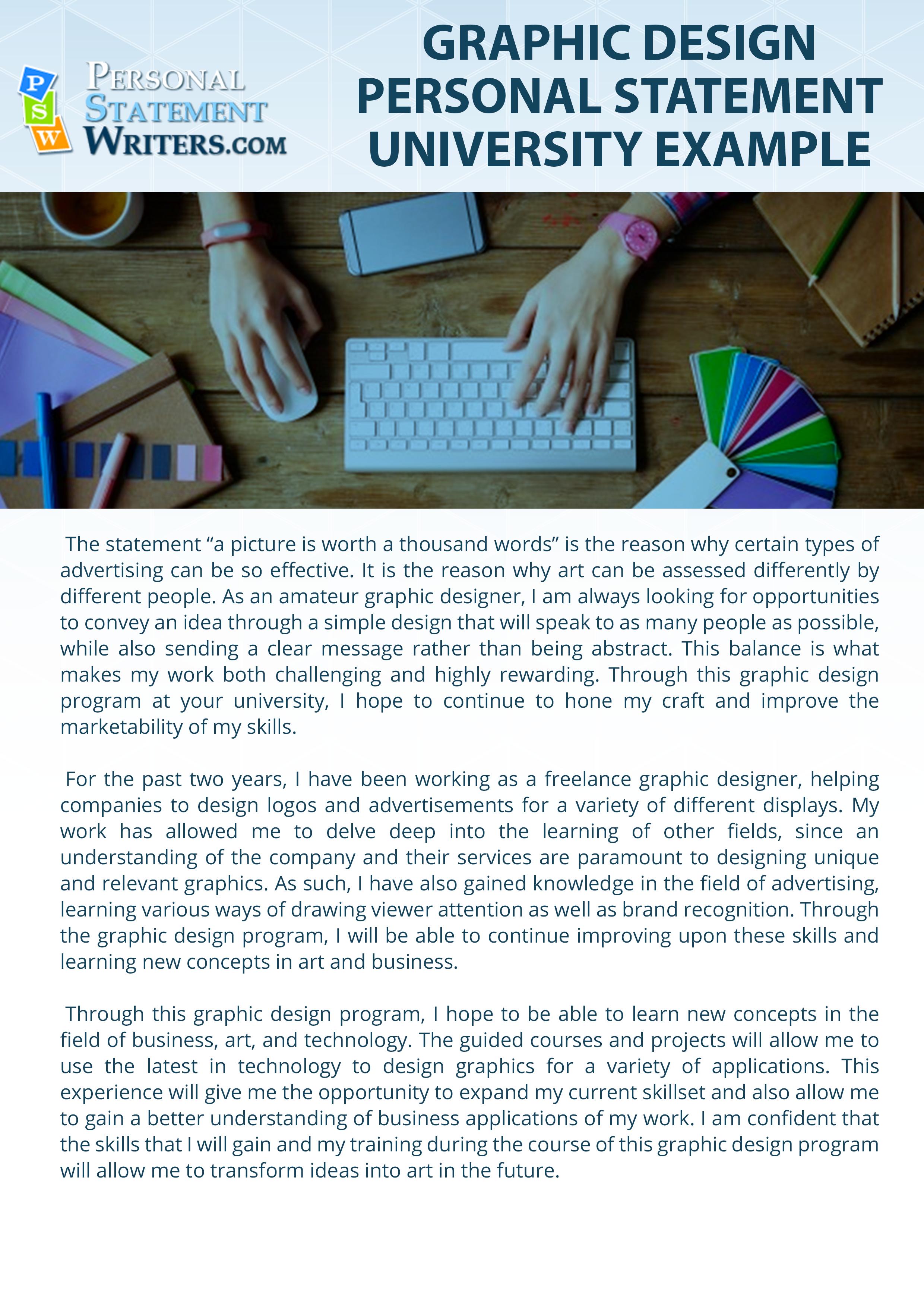 Graphic Design Personal Statement University Sample Artist Example Designer