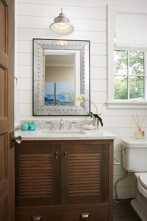 Superb Chic Cottage Bathroom Features Shiplap Walls Lined With A Brown Shutter  Washstand Topped With White And
