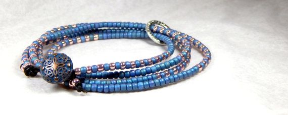 Seed Bead Leather Wrap Bracelet Blue Antique Silver by Aerieanna