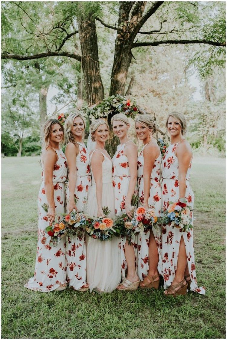 Floral print wedding dresses  Floral Bridesmaid Dresses Are Blossoming into the Latest Wedding