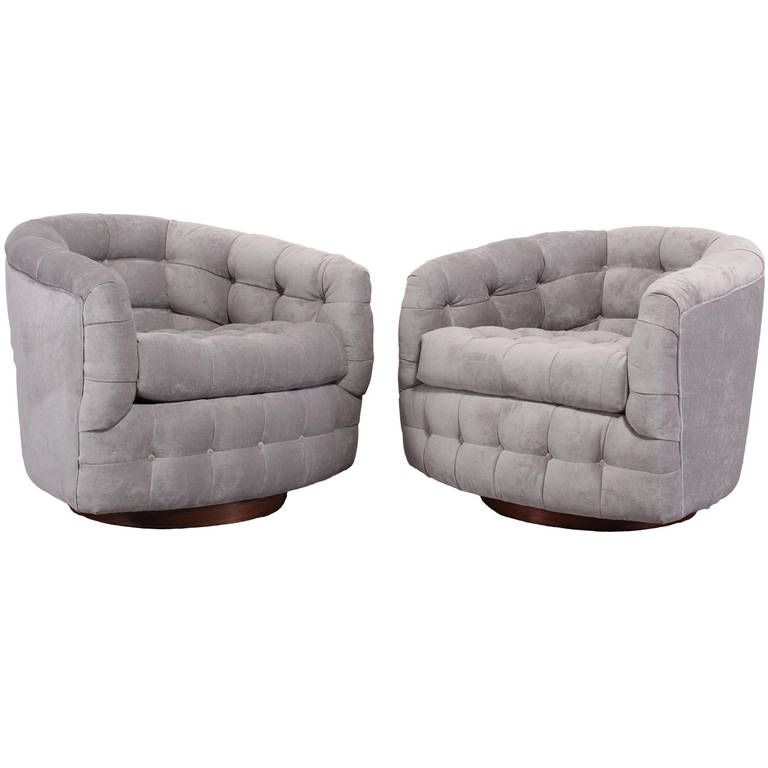 Pair Of Milo Baughman Swivel Club Chairs For Thayer Coggin   CREATOR: Milo  Baughman (