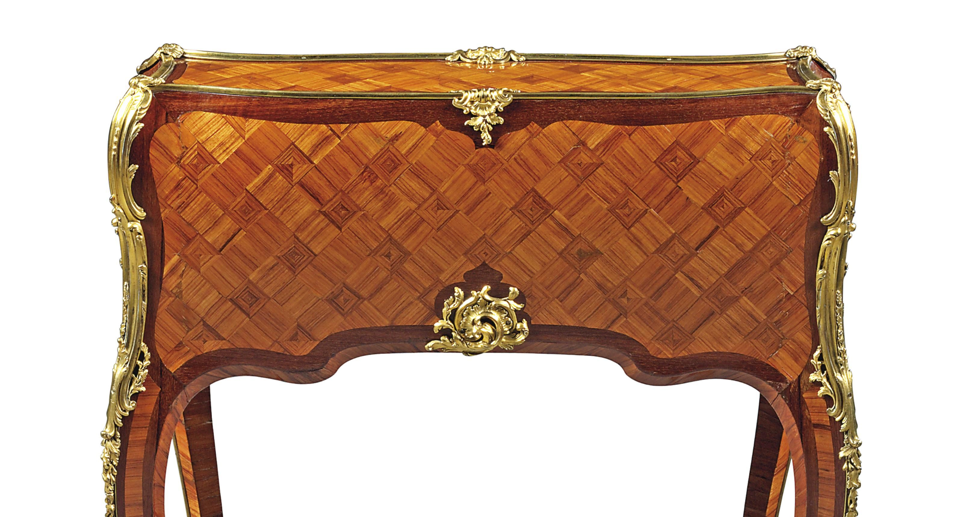 C a louis xv amaranth tulipwood bois satine marquetry and