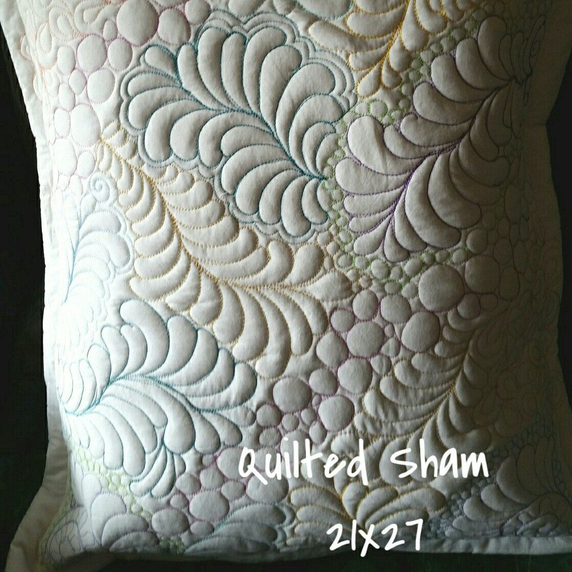 Quilted Pillow Sham Finished Sham Standard/queen Size Doodle Quilting Zentangle Quilting Free Motion Quilting & Quilted Pillow Sham Finished Sham Standard/queen Size Doodle ... pillowsntoast.com