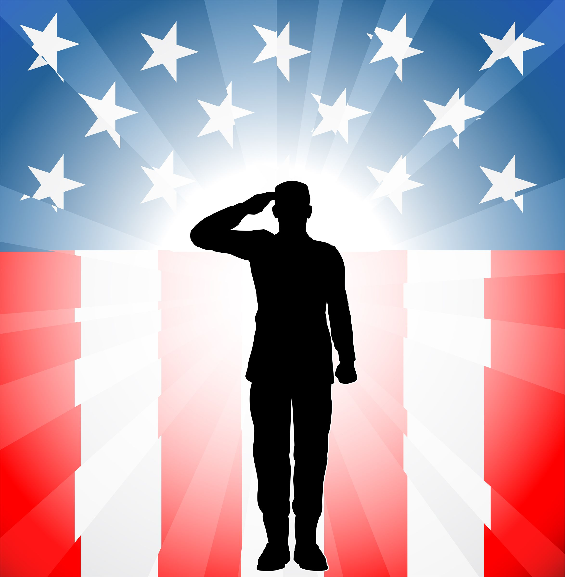Veterans Day Clip Art Soldier In Front Of Flag Clipart