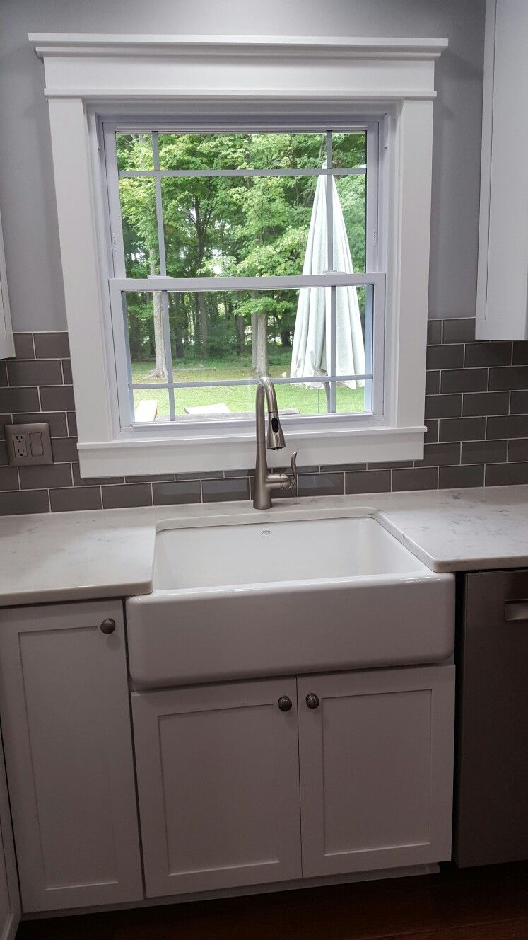 Cloud Grey Glass Subway Tile Around Window Faucet Is By Moen