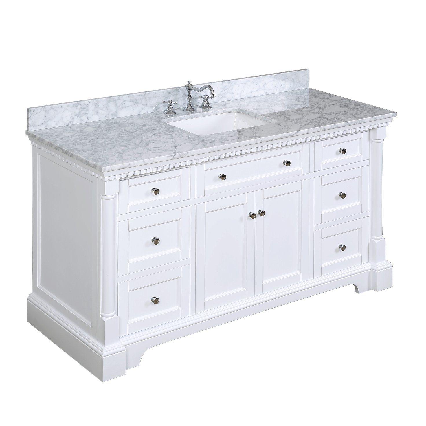 Sydney 60 Inch Single Carrara White Single Bathroom Vanity