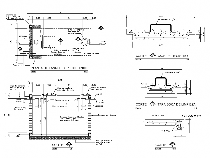 Septic Tank Plan And Section Detail Dwg File Septic Tank How To Plan Tank