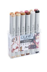 GRAPHIC ART MARKERS 12 SKIN COLOURS SET COPIC SKETCH MARKER PENS
